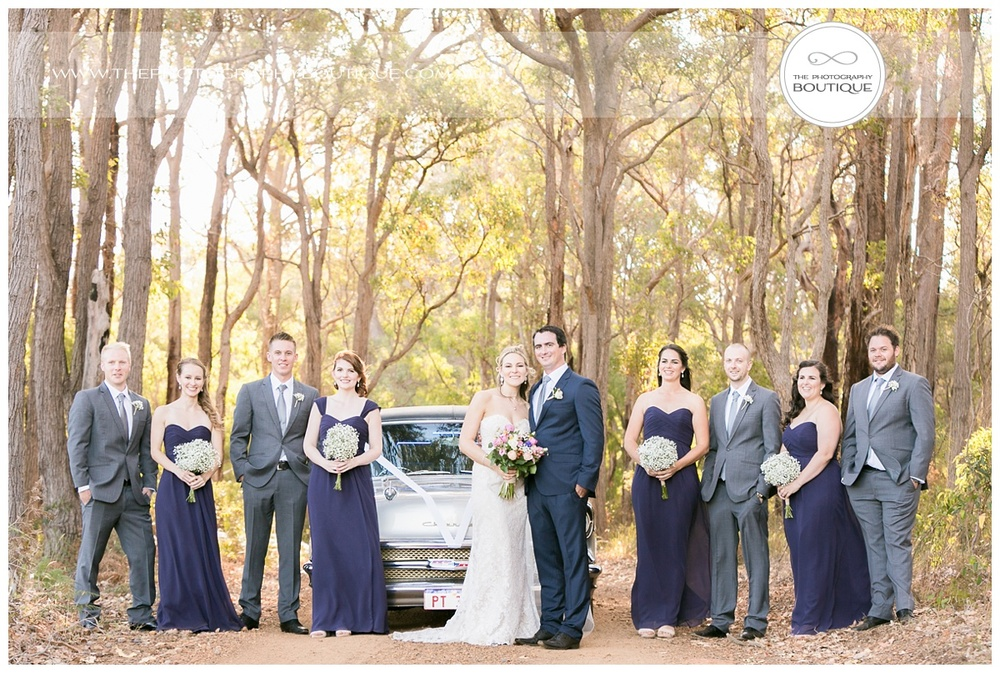 bridal party in the forest at chandeliers on abbey margaret river