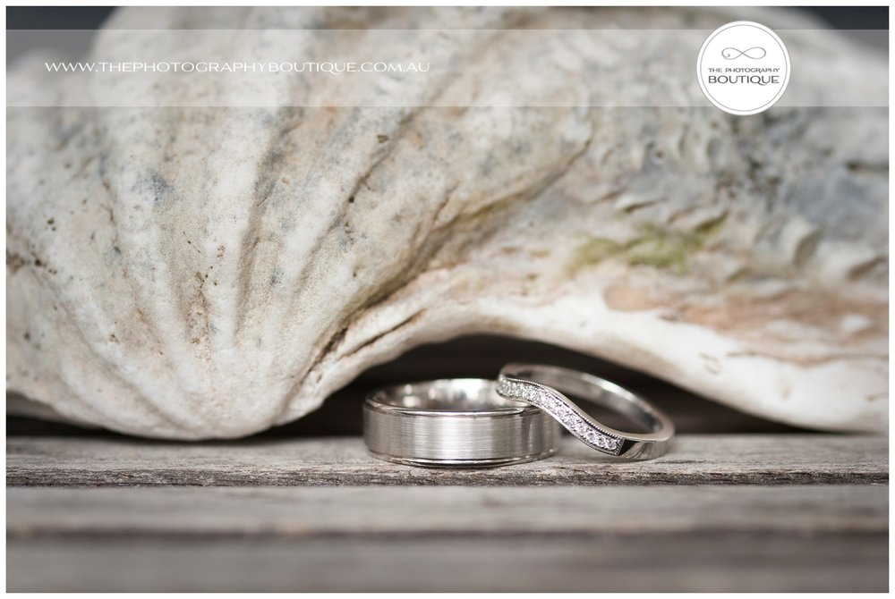 Wedding rings with seashell