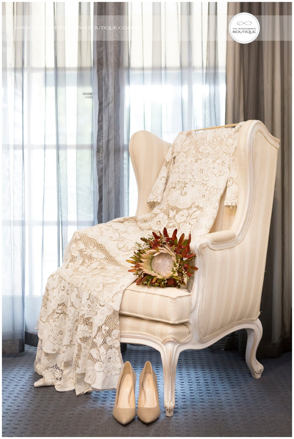 Brides Details on wingback chair at Caves House Yallingup