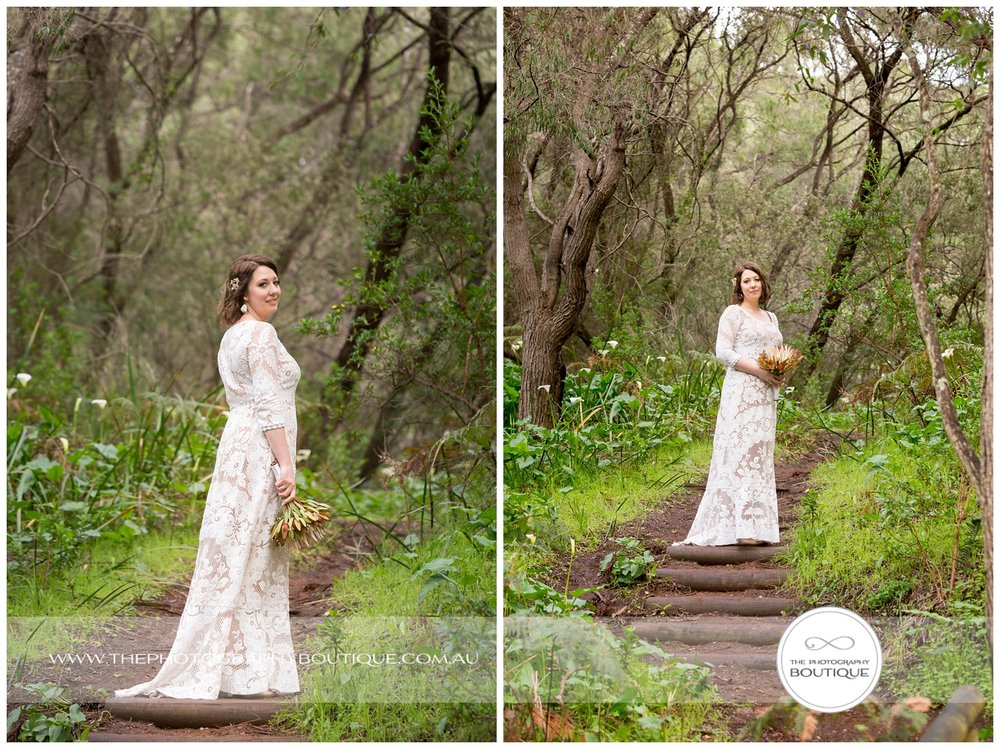 Portrait of bride in the forest at Caves House Yallingup
