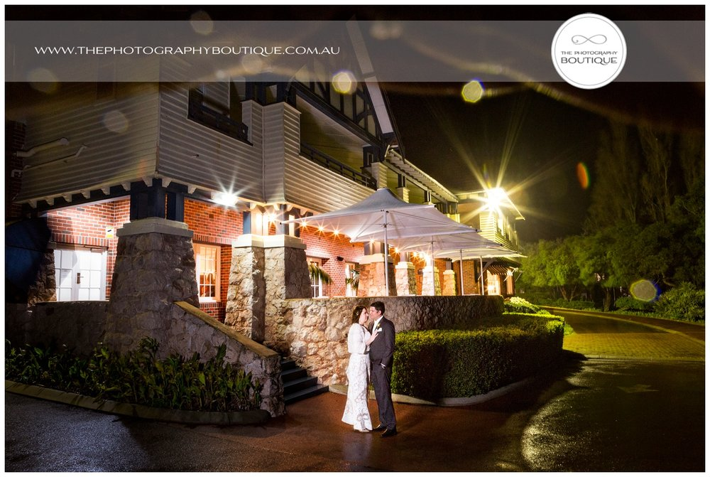 Bride and Groom outside Caves House Yallingup at night