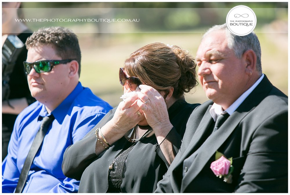 mother of the bride crying at roelands backyard wedding