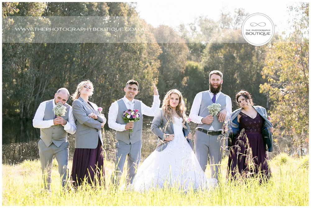 Fun bridal party portrait at Roelands Bunbury wedding