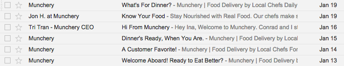 *   Munchery or Jon H. at Munchery or Tri Tran - Munchery CEO
