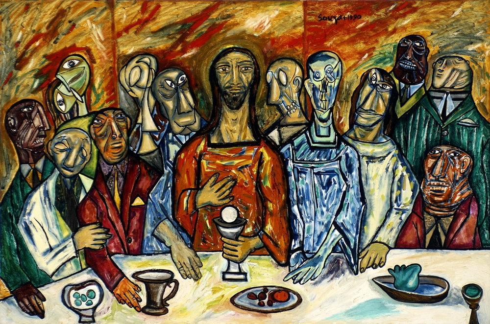 F.N. Souza (1990) Last supper,121x183 oil on canvas,https://www.glenbarra.com/display/fn/10.html