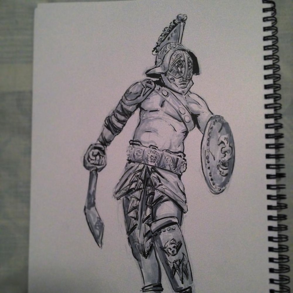No.14 #inktober #ink #arthabit #art #illustration #sketchbook #warrior #gladiator