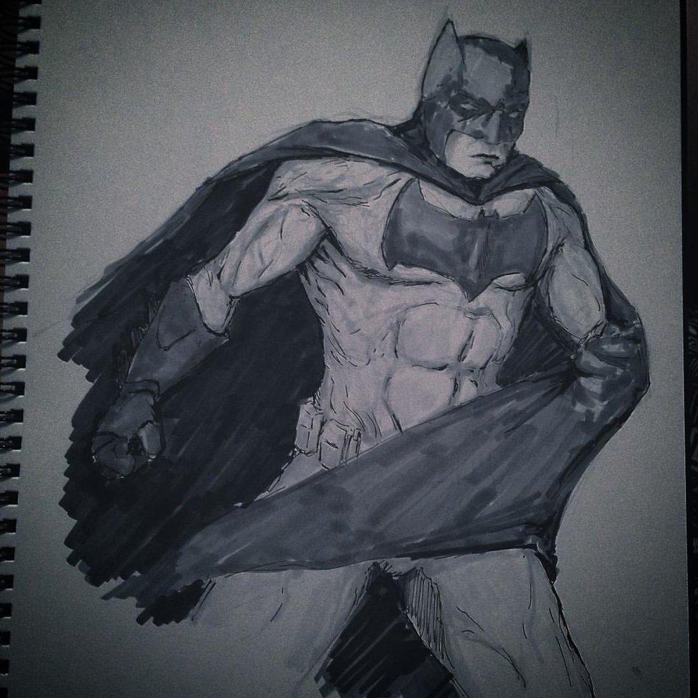 #No.10 #inktober #ink #copicmarkers #batman #batmanvsuperman #batfleck #nycc2015 #fanart #arthabit #art #illustration #drawing #dc #sketch