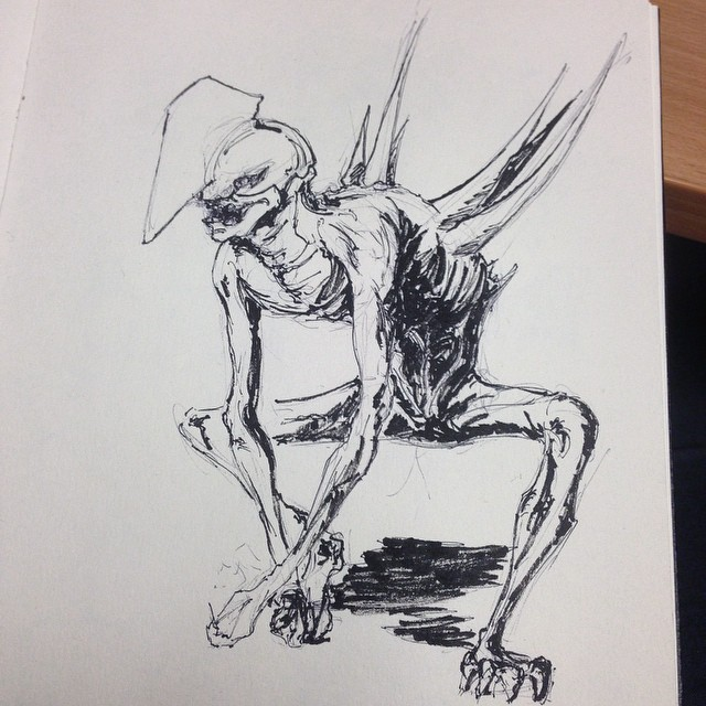 A creepy character Ive been working on #art #illustration #drawing #ink #sketching #sketchbook