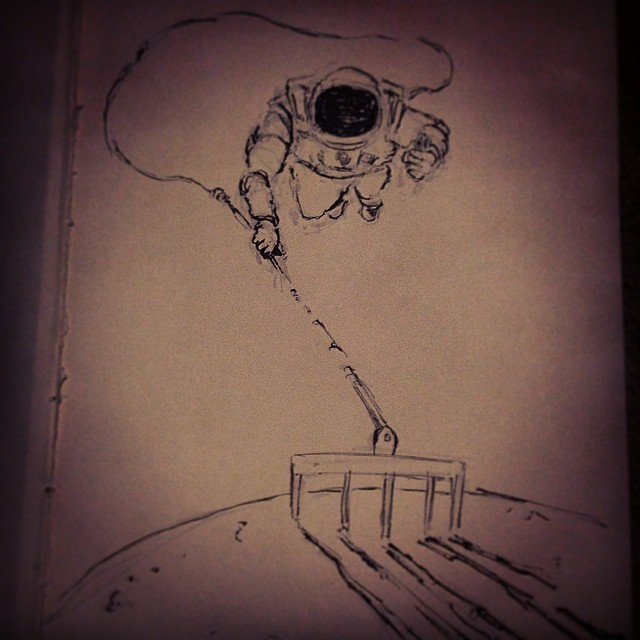 #inktober watching some #007 #moonraker #rake #moon #space #bond #jamesbond #astronaut  #lol #funny
