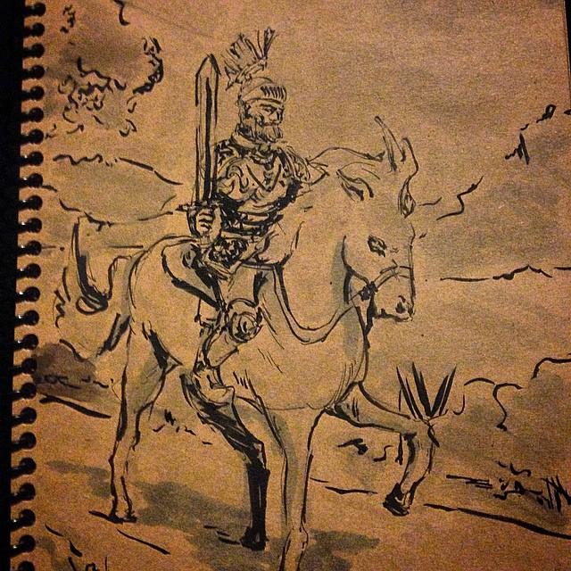 #inktober #art #illustration #draweveryday #sketchbook #ink #brushpen #marker #cops #knight  #horse #warrior #journey