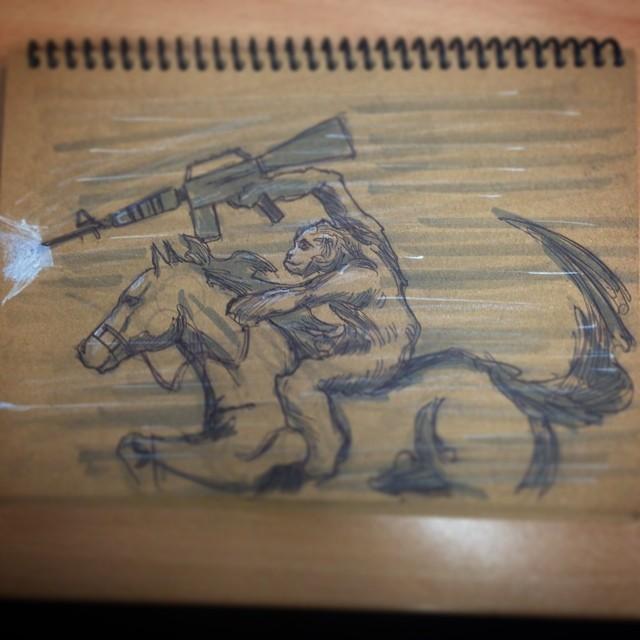 #dawnoftheplanetoftheapes #planetoftheapes #art #fanart #illustration #drawing #sketchbook #sketching #ape #horse #m16 #war #epic