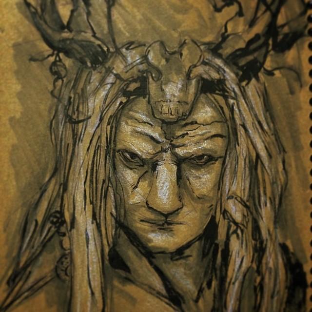 #art #illustration #ink #drawing #draweveryday #copic #marker #demon #face #pagan #horns #sketchbook #sketch