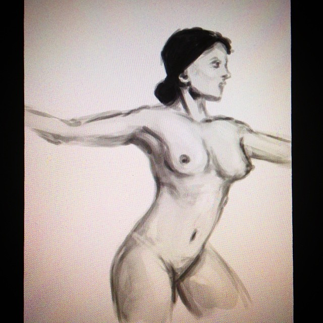 #art #illustration #drawing #painting #study #female #pose #sketching