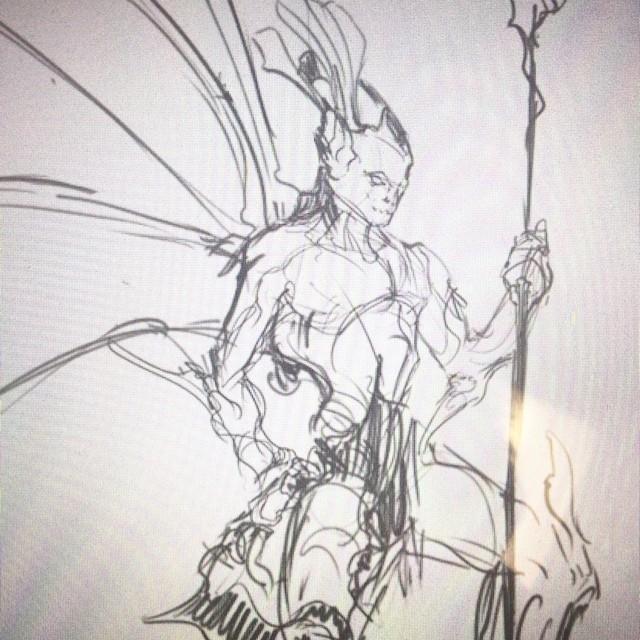 #fishman #sketching #art #illustration #drawing #sea #underwater #lionfish #fish #warrior