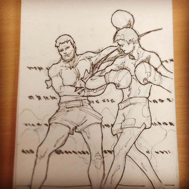 @blackiem #fight #resurrectionofthewarrior #muaythai #bradahlserey #kickboxing #sunrise #draweveryday #art #illustration #drawing #sketchbook #sketching
