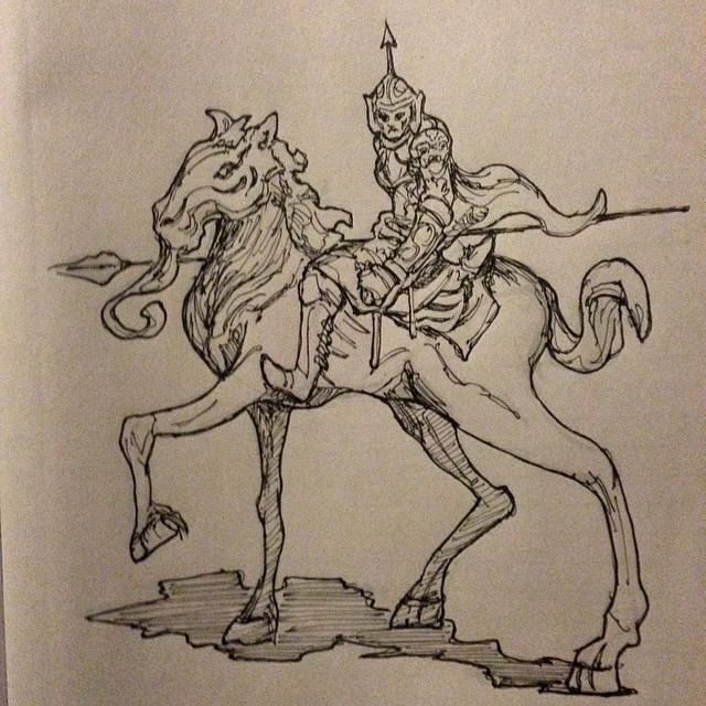 #horse #dark #warrior #art #spear #armor #illustration #drawing #sketch #sketchbook #ink