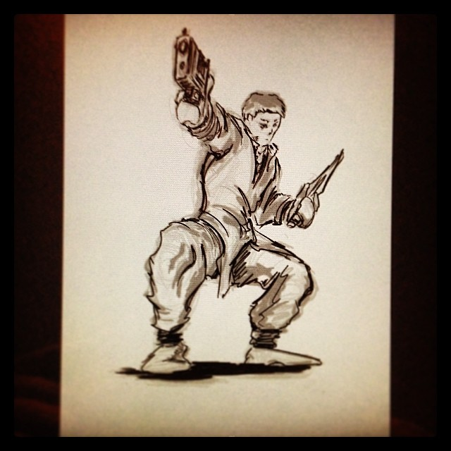 #art #illustration #drawing #noreference #kungfu #gun 2 a #knife #fight #sketchbook #sketch