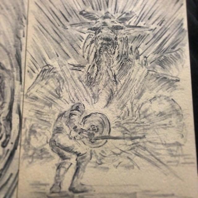I keep dying. #demonsouls #darksouls #darksouls2 #fanart #art #illustration #drawing #copic #marker #knight #dragon #sword #shield