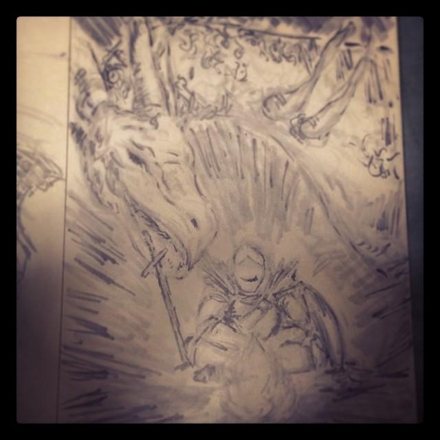 #art #illustration #drawing #copic #marker #dragon #knight #sword #shield #darksouls #demonsouls #darksouls2 #fantasy #fire p>