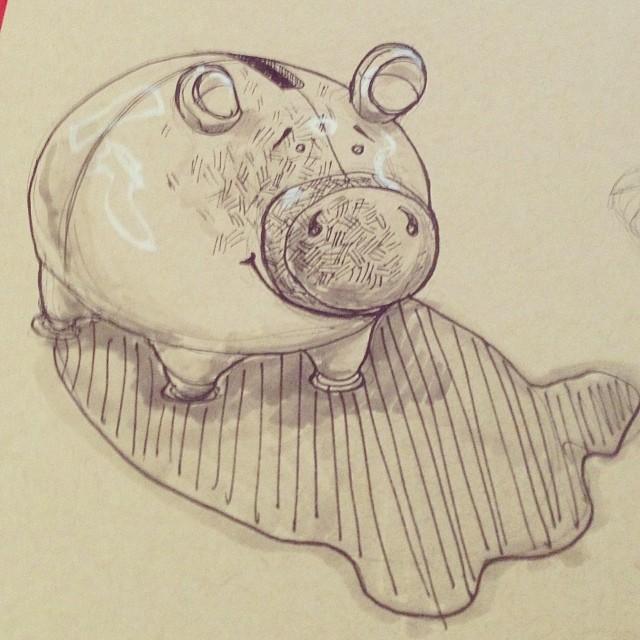 #piggy #bank #art #illustration #drawing