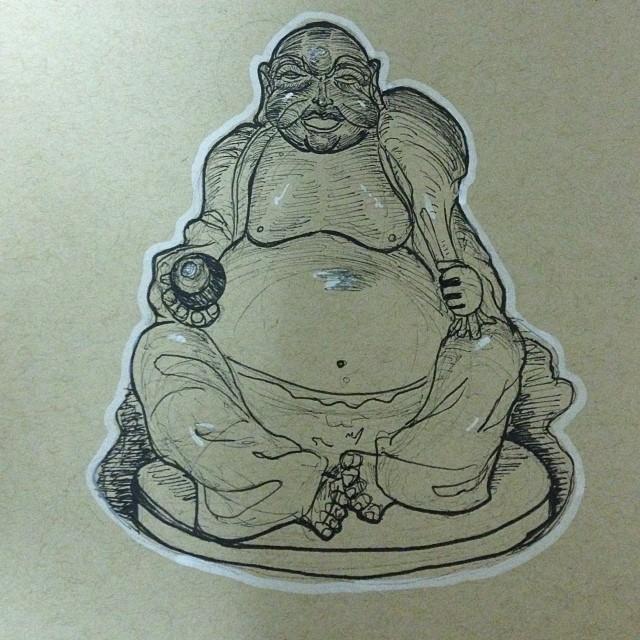 #art #illustration #drawing #buddha #statue