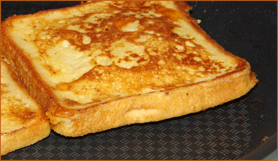 Edges of toast lifting from the pan and the centre of the toast is 'rising'.