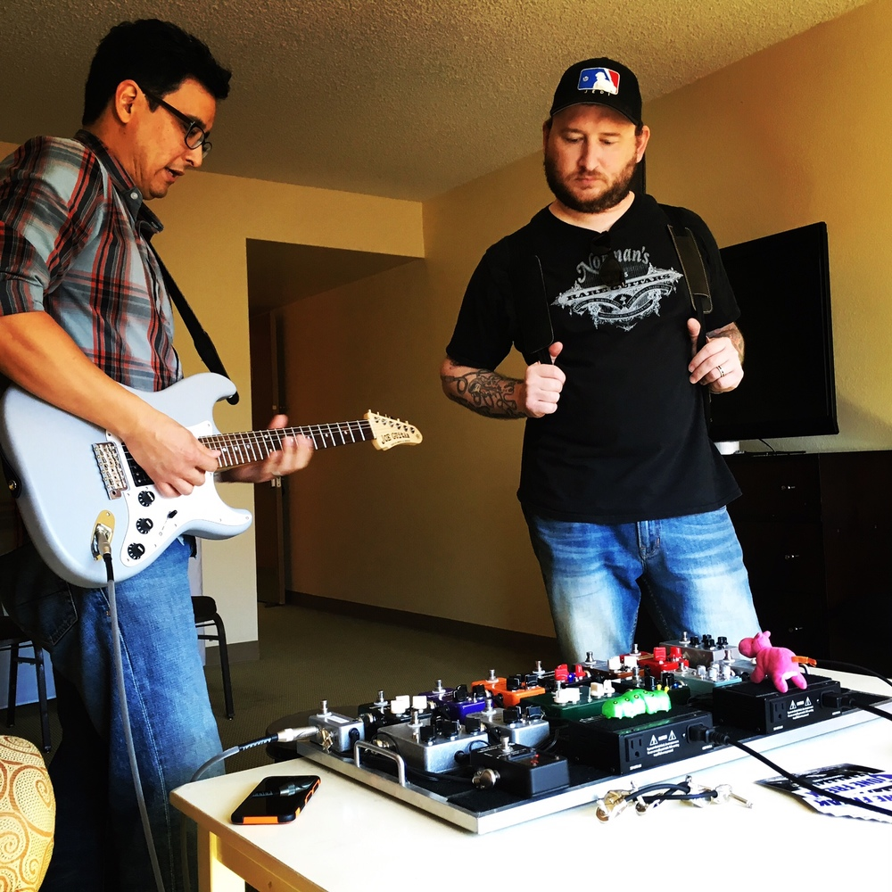Josh Smith checking out the Tone Freak pedal board