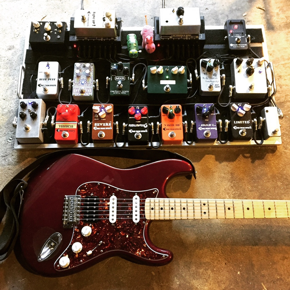 The Tone Freak demo board and guitar