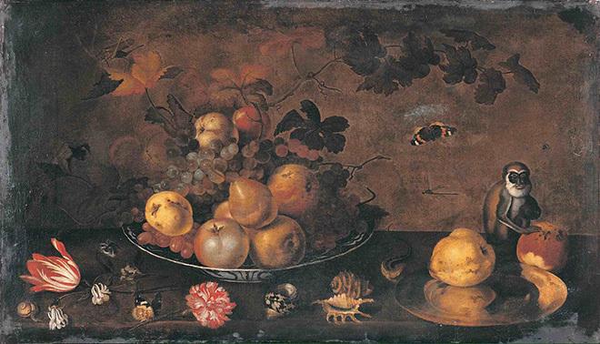 Ян Бауман, «Цветы, фрукты и обезьяна»