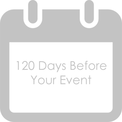 120 Days Before Your Event - Last chance to Postpone or Reschedule your wedding. · Check on the wedding invitations. Ask the stationer for samples of the finished invitations and revise them to suit your needs. · Select and order the cake. Some bakers require a long lead time. Attend several tastings before committing to any baker. Click here to see more of the 120 day Checklist.