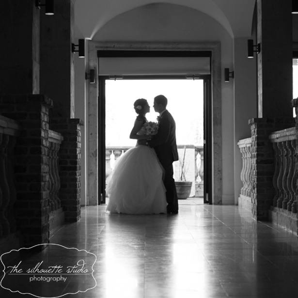 Black and White Bride and Groom on Carillon Catwalk.jpg