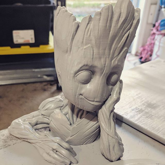Prep another #groot for paint. I gave my other one away as a #gift #marvel #3dprinting #painting