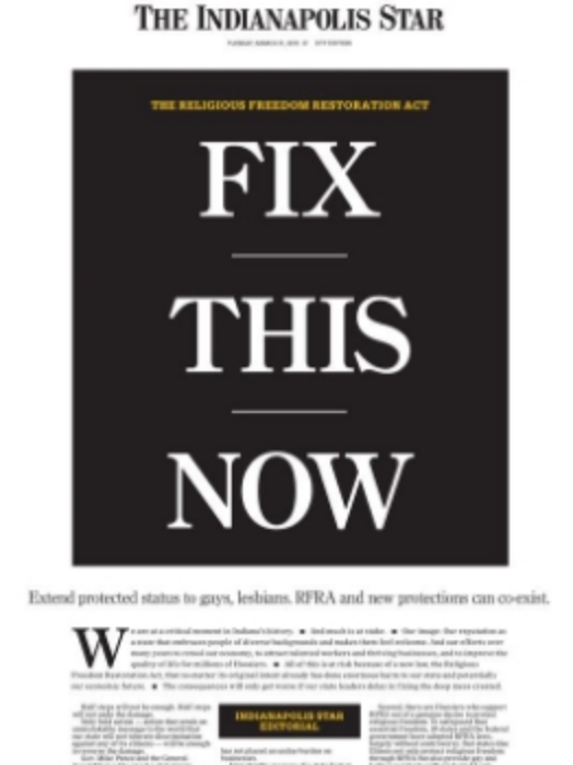 Today's front page of the generally conservative  Indianapolis Star