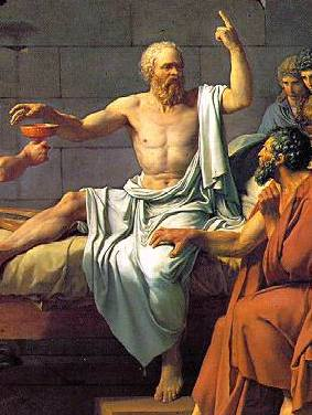 As scholars, isn't this really how we imagine ourselves when we try to get our op-eds published at the  Huffington Post ?   The Death of Socrates  (detail) (1787), Jacques Louis David