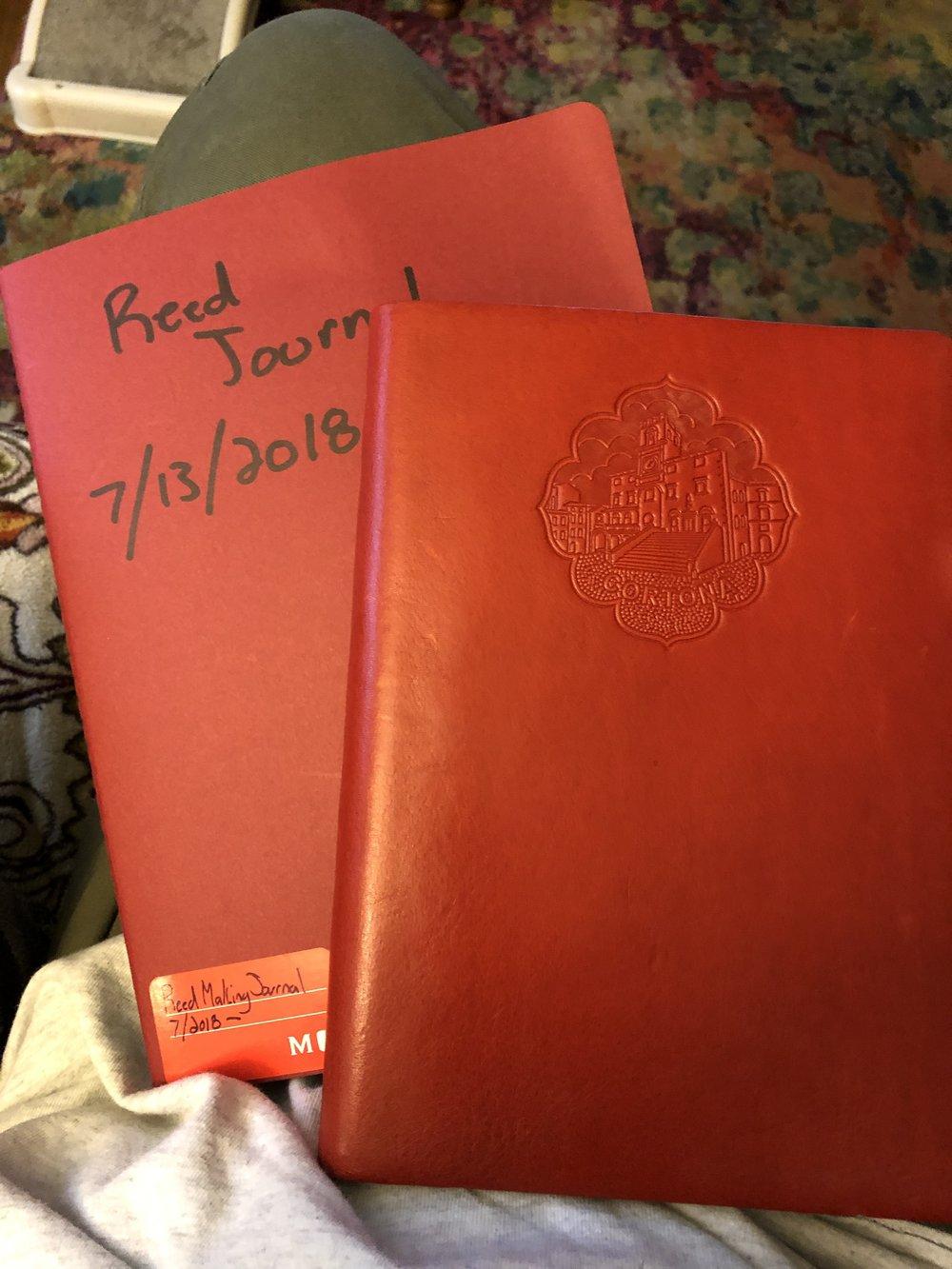 Left, Moleskin Right, Leather Journal from Cortona, Italy…I like red.