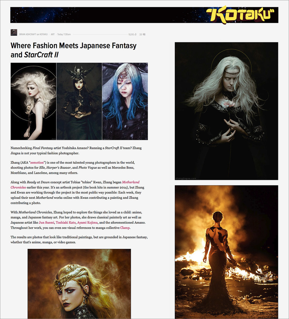 """Where Fashion Meets Japanese Fantasy and StarCraft II"",  Kotaku , 28 Nov 2013"