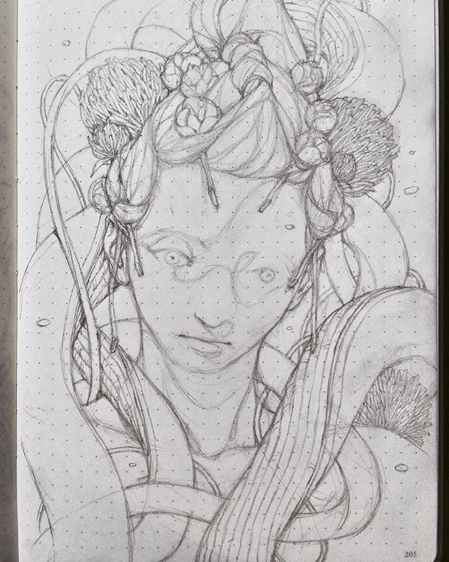 Another flower girl sketch by @tobiaskwan #art #drawing #sketch #sketchbook #fantasy #motherlandchronicles #tobiaskwan