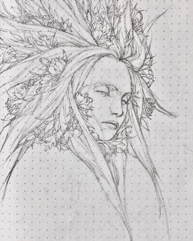 Flower hair sketch