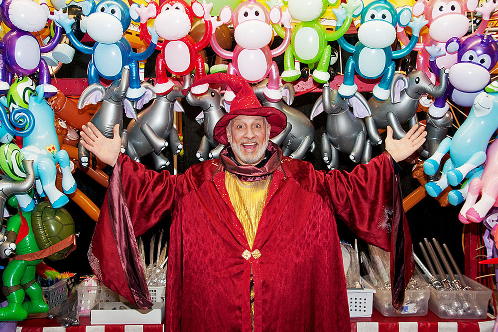 The Wizard Of Haasz is excited by the many toys in our toy booth!