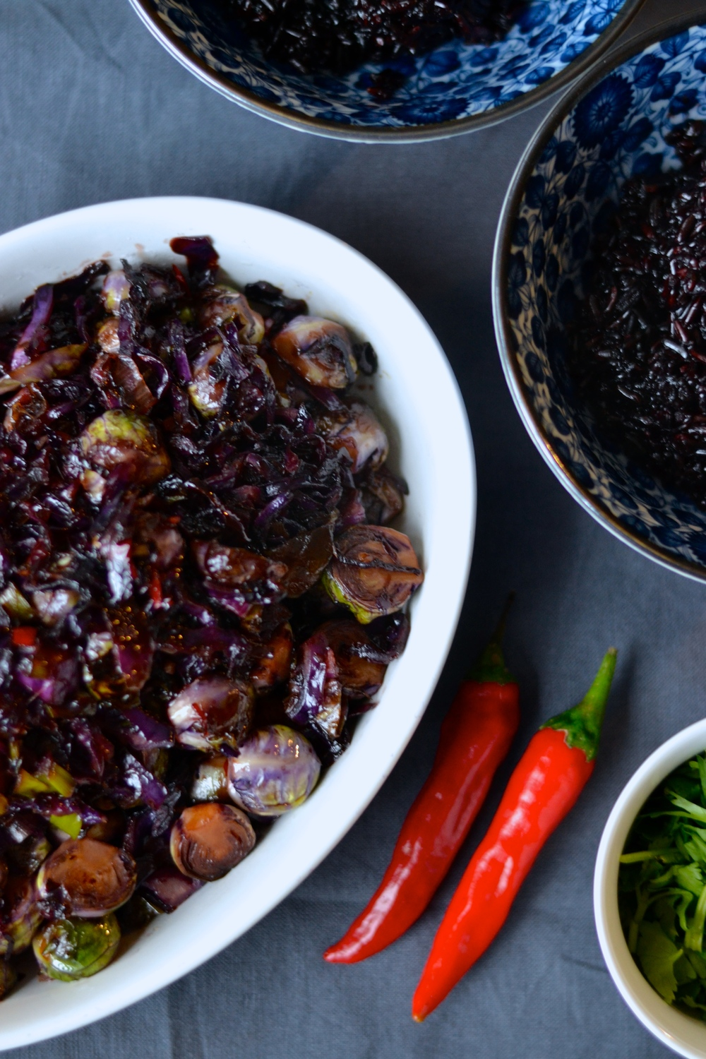 Sweet Sticky Brussels Sprouts and Red Cabbage with Black Glutinous ...