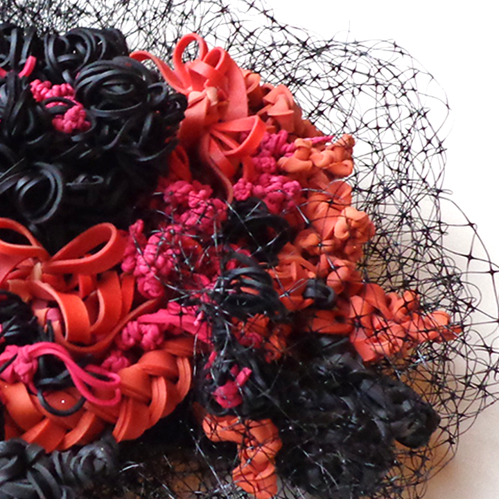 Veil ' Detail: various colors rubber bands, black netting