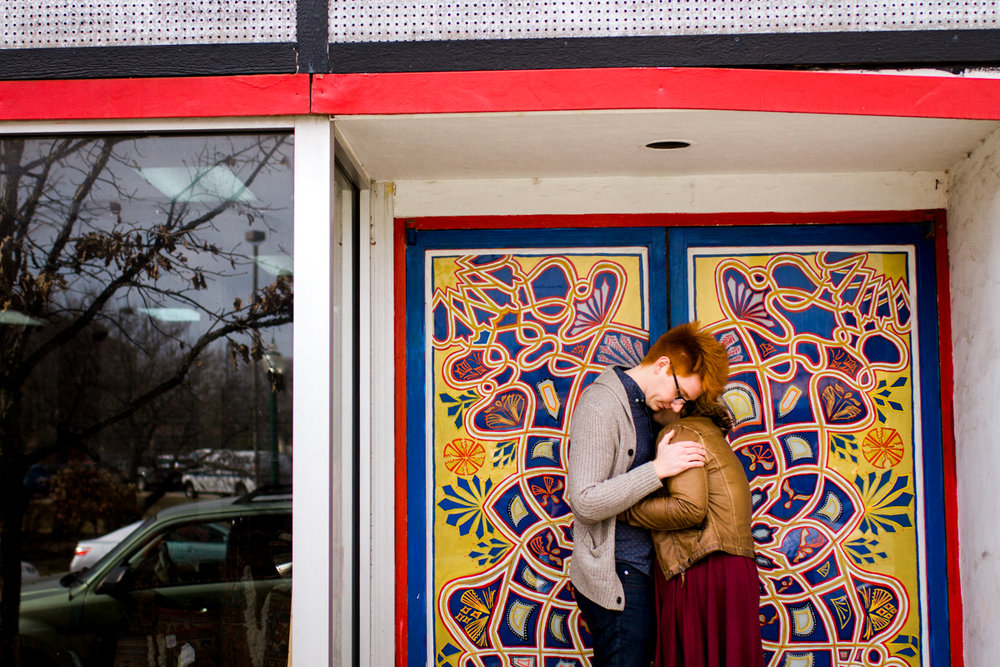 urban engaged or married couple in international doorway engagment photography couples photography Westport Kansas City, MO
