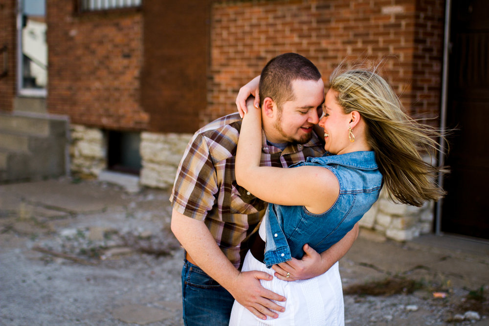 Couples session in Kansas City west bottoms couples photography hair blowing