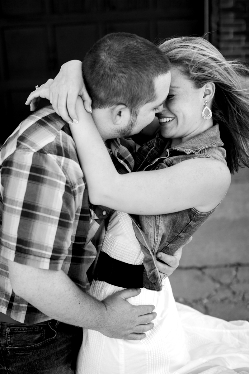 Couples session in Kansas City west bottoms couples photography black and white photo hair blowing