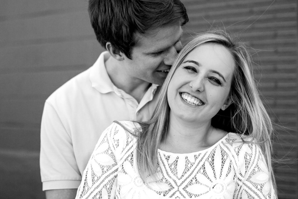 Engagment photos in Kansas City west bottoms engagment photography black and white photo
