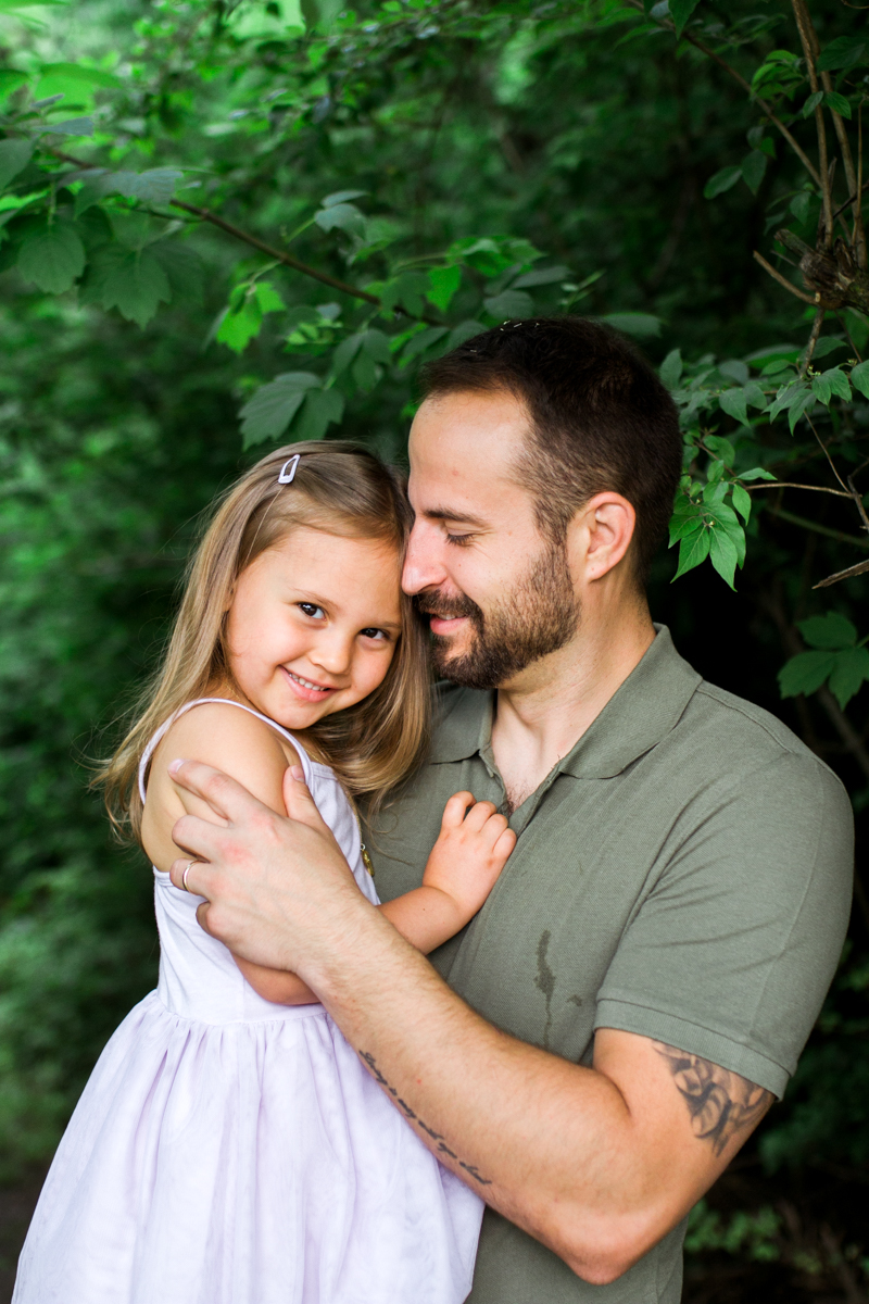 Rebecca Clair Photography Kansas City MO lifestyle family photographer Line Creek Trail Family Session father and daughter