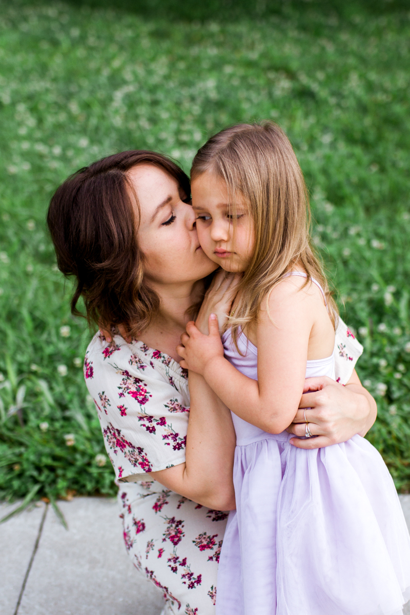 Rebecca Clair Photography Kansas City MO lifestyle family photographer Line Creek Trail Family Session mother kissing daughter