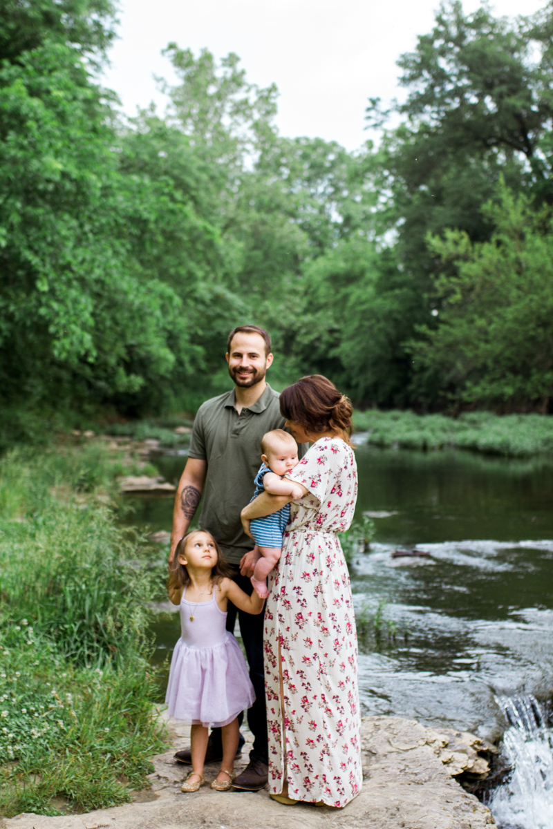 Rebecca Clair Photography Kansas City MO lifestyle family photographer Line Creek Trail Family Session family together by a waterfall