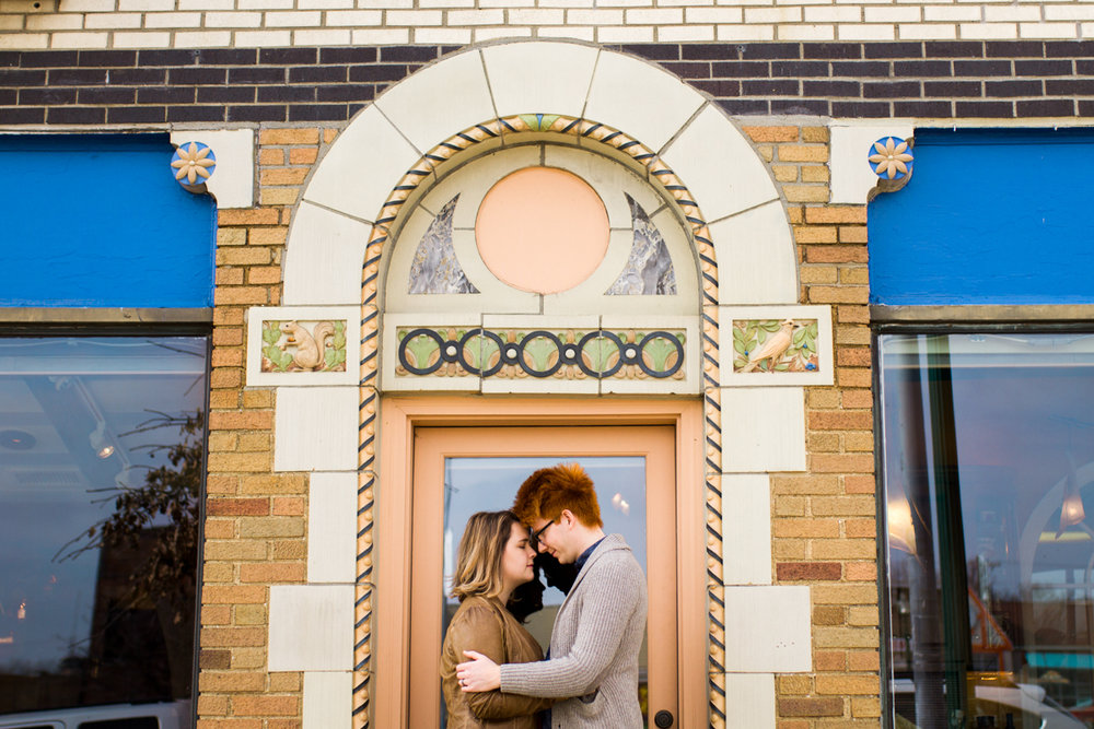 urban engaged or married couple in Westport archway engagment photography couples photography Kansas City, MO