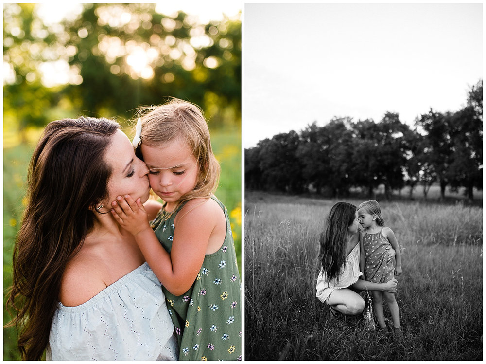 Mother kisses her daughter's cheek, black and white portrait of mother and daughter, Kansas City mommy and me session, lifestyle family photos at Shawnee Mission Park, Rebecca Clair Photography